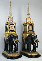 Two elephant clocks with bell music and automata, atelier James Cox, London, c.1780, private collection